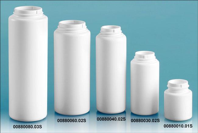 White HDPE Powder Bottles (Bulk), Caps NOT Included