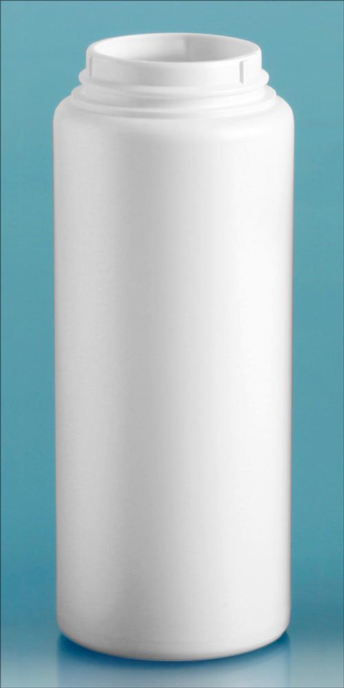 6 oz White HDPE Powder Bottles (Bulk), Caps NOT Included