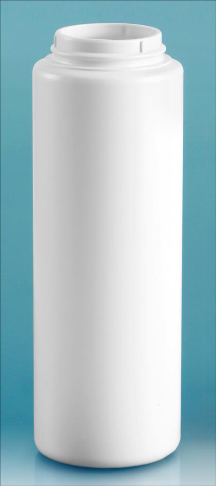 8 oz White HDPE Powder Bottles (Bulk), Caps NOT Included