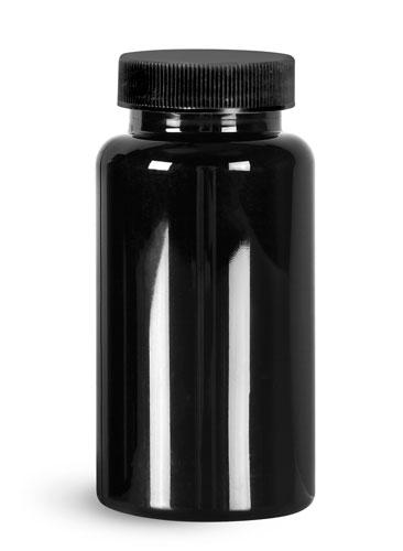 Plastic Bottles, Black PET Wide Mouth Packer Bottles w/ Black Ribbed PE Lined Caps