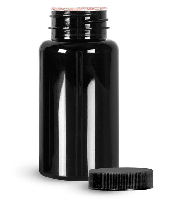 Plastic Bottles, Black PET Wide Mouth Packer Bottles w/ Black Ribbed Induction Lined Caps