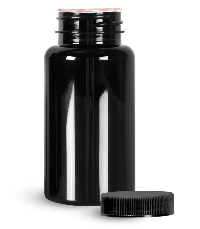 PET Plastic Bottles, Black Wide Mouth Packer Bottles w/ Black Ribbed Induction Lined Caps