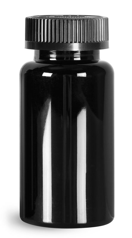 PET Plastic Bottles, Black Wide Mouth Packer Bottles w/ Black Child Resistant Caps