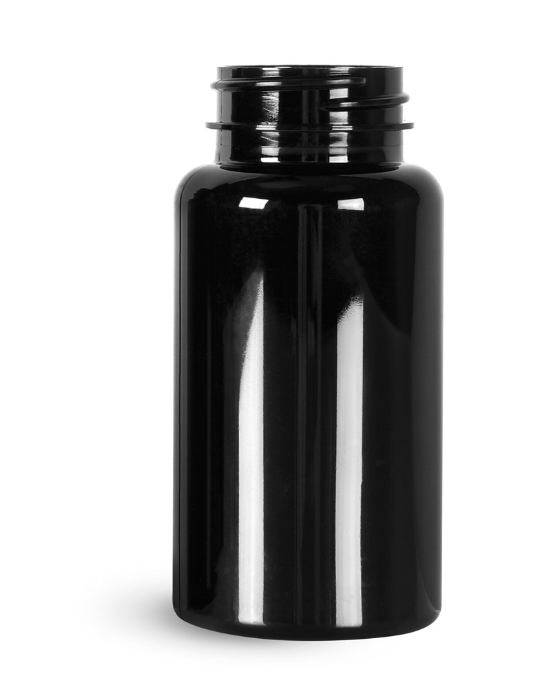 PET Plastic Bottles, 150 cc Black Wide Mouth Packer Bottles, (Bulk) Caps Not Included