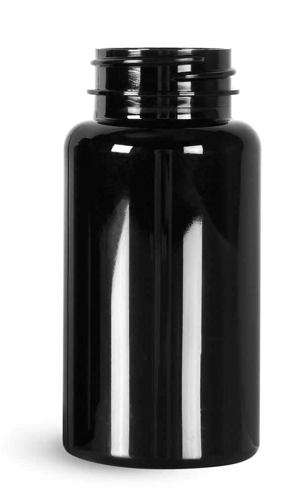 150 cc Black PET Wide Mouth Packer Bottles, (Bulk) Caps Not Included