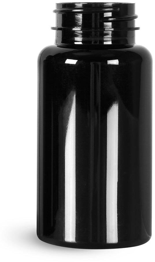 Black PET Wide Mouth Packer Bottles, (Bulk) Caps Not Included