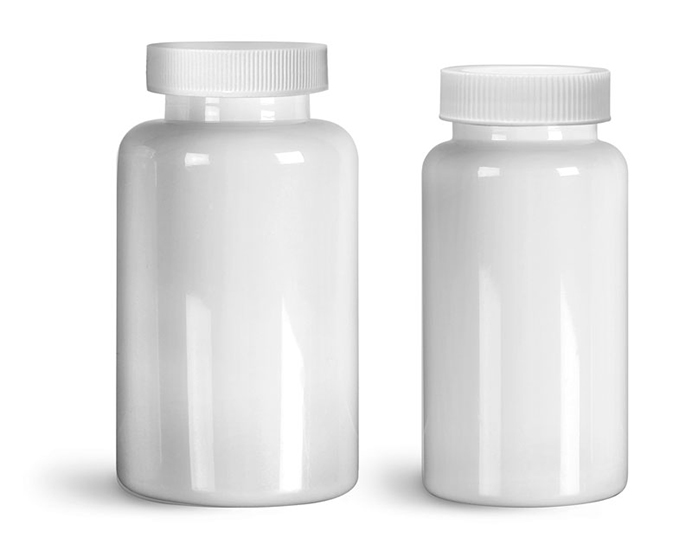 PET Plastic Bottles, White Wide Mouth Packer Bottles w/ White Ribbed PE Lined Caps