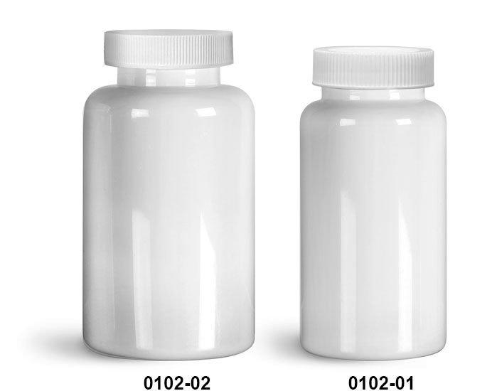 Plastic Bottles, White PET Wide Mouth Packer Bottles w/ White Ribbed PE Lined Caps