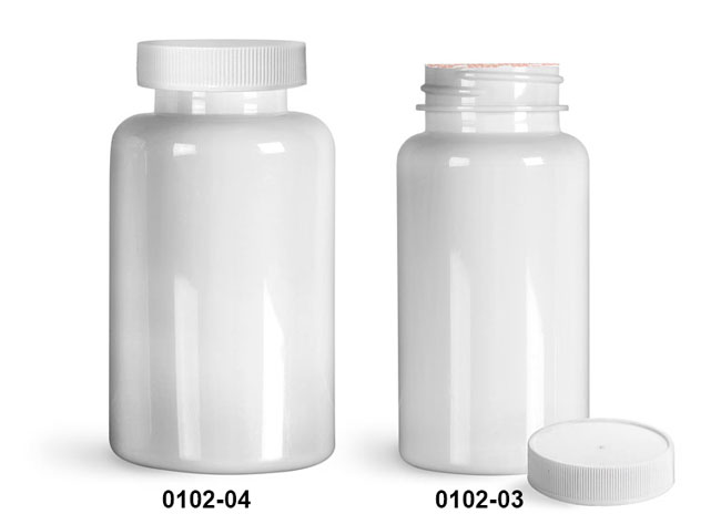 Plastic Bottles, White PET Wide Mouth Packer Bottles w/ White Ribbed Induction Lined Caps