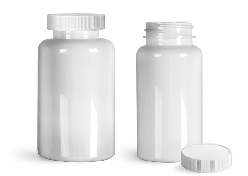 PET Plastic Bottles, White Wide Mouth Packer Bottles w/ White Ribbed Induction Lined Caps