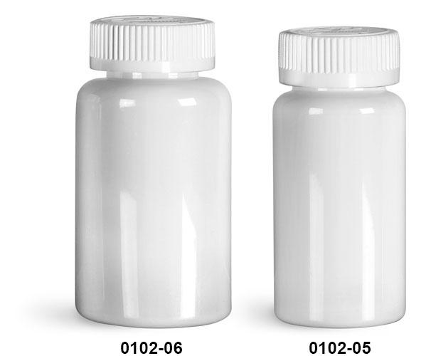 Plastic Bottles, White PET Wide Mouth Packer Bottles w/ White Child Resistant Caps