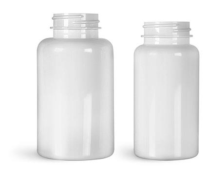 PET Plastic Bottles, White Wide Mouth Packer Bottles, (Bulk) Caps Not Included