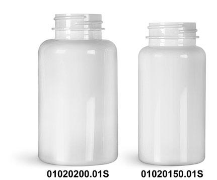 Plastic Bottles, White PET Wide Mouth Packer Bottles, (Bulk) Caps Not Included
