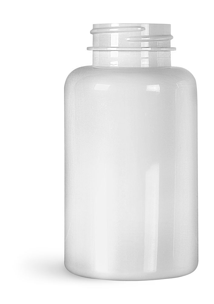 200 cc White PET Wide Mouth Packer Bottles, (Bulk) Caps Not Included