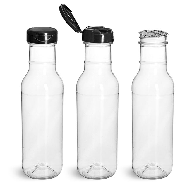 PET Plastic Bottles, Clear Barbecue Sauce Bottle w/ Black Polypro Induction Lined Snap Top Cap