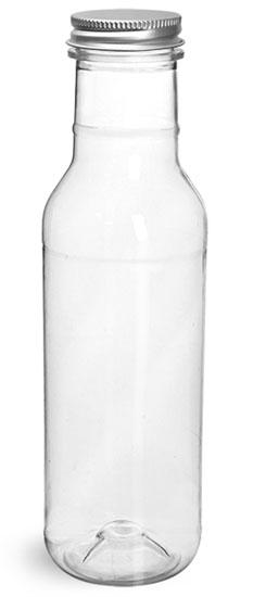 Plastic Bottles, Clear PET Barbecue Sauce Bottles w/ Lined Aluminum Caps