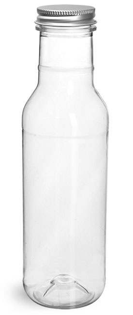 PET Plastic Bottles, Clear Barbecue Sauce Bottles w/ Lined Aluminum Caps