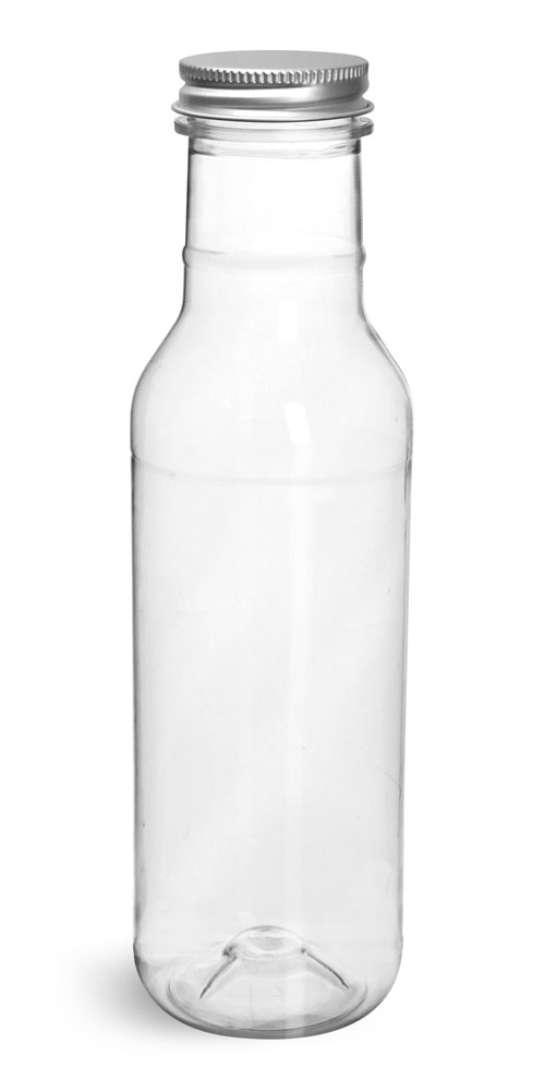 12 oz Clear PET Barbecue Sauce Bottles w/ Lined Aluminum Caps