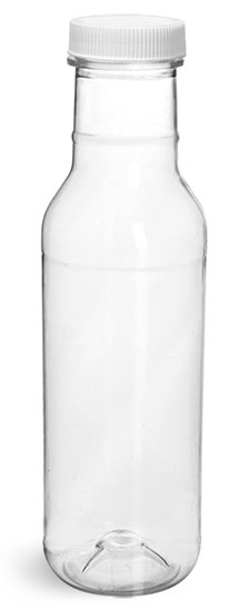 Plastic Bottles, Clear PET Barbecue Sauce Bottles w/ White Ribbed Lined Caps