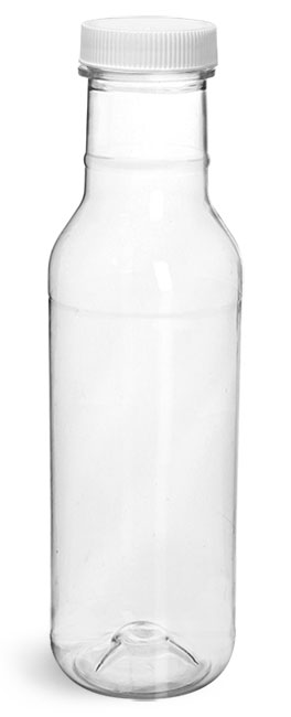 PET Plastic Bottles, Clear Barbecue Sauce Bottles w/ White Ribbed Lined Caps