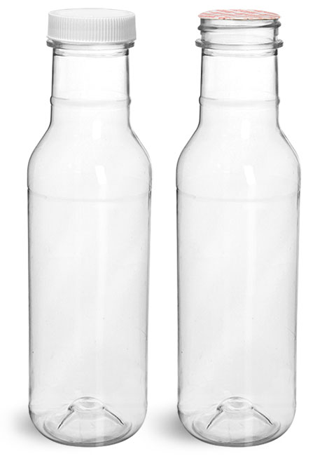 Clear PET Barbecue Sauce Bottles w/ White Ribbed Induction Lined Caps'