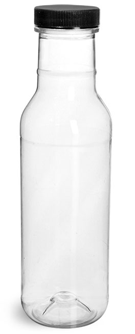 PET Plastic Bottles, Clear Barbecue Sauce Bottles w/ Black Ribbed Lined Caps
