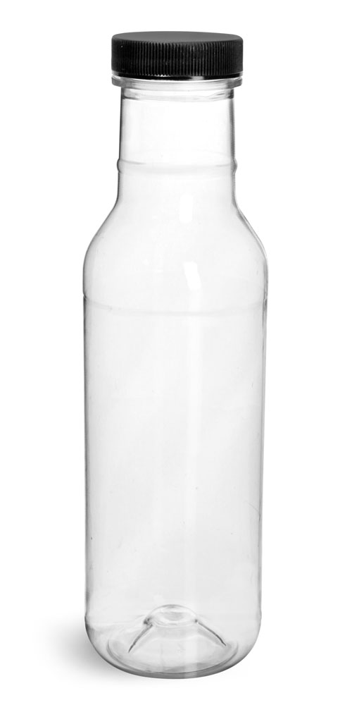 Plastic Bottles, Clear PET Ring Neck Sauce Bottles w/ Black Ribbed Lined Caps