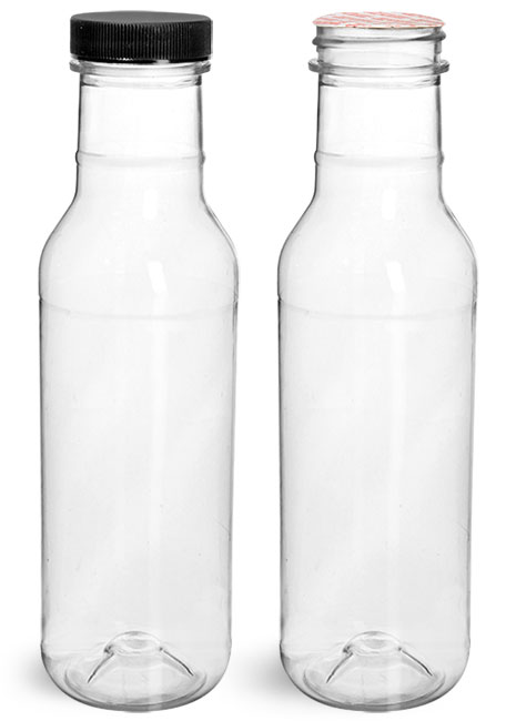 PET Plastic Bottles, Clear Barbecue Sauce Bottles w/ Black Ribbed Induction Lined Caps