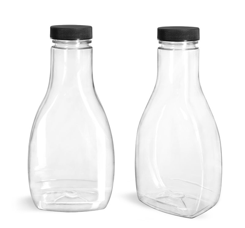 PET Plastic Bottles, Clear Oblong Sauce Bottles with Black Ribbed Lined Caps