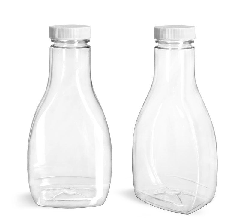PET Plastic Bottles, Clear Oblong Sauce Bottle with White Ribbed Lined Caps