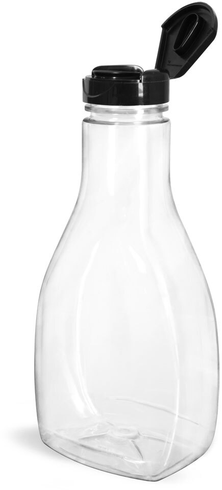 Plastic Bottles, Clear PET Oblong Sauce Bottles with Smooth Black Induction Lined Snap-Top Caps