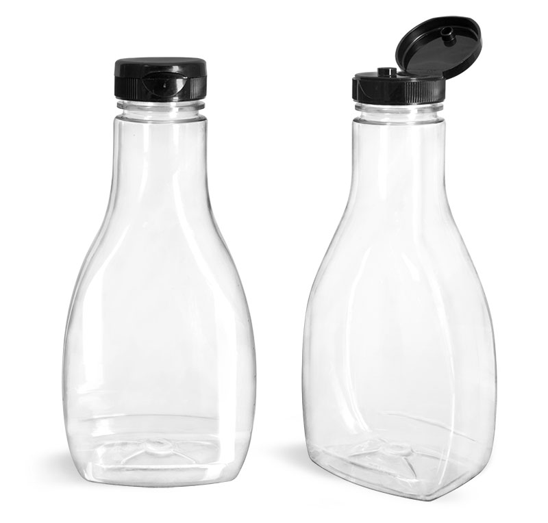 PET Plastic Bottles, Clear Oblong Sauce Bottles w/ Black PS22 Lined Snap-Top Caps