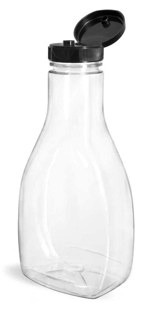 Plastic Bottles, Clear PET Oblong Sauce Bottles w/ Black PS22 Lined Snap-Top Caps