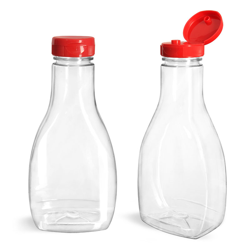 PET Plastic Bottles, Clear Oblong Sauce Bottles w/ Red PS22 Lined Snap-Top Caps