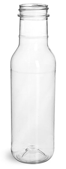 Plastic Bottles, Clear PET Barbecue Sauce Bottles (Bulk) Caps NOT Included