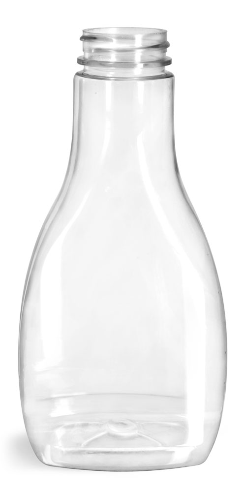 16 oz Plastic Bottles, Clear PET Oblong Sauce Bottles (Bulk) Caps NOT Included