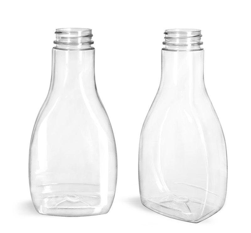 Plastic Bottles, Clear PET Oblong Sauce Bottles (Bulk) Caps NOT Included