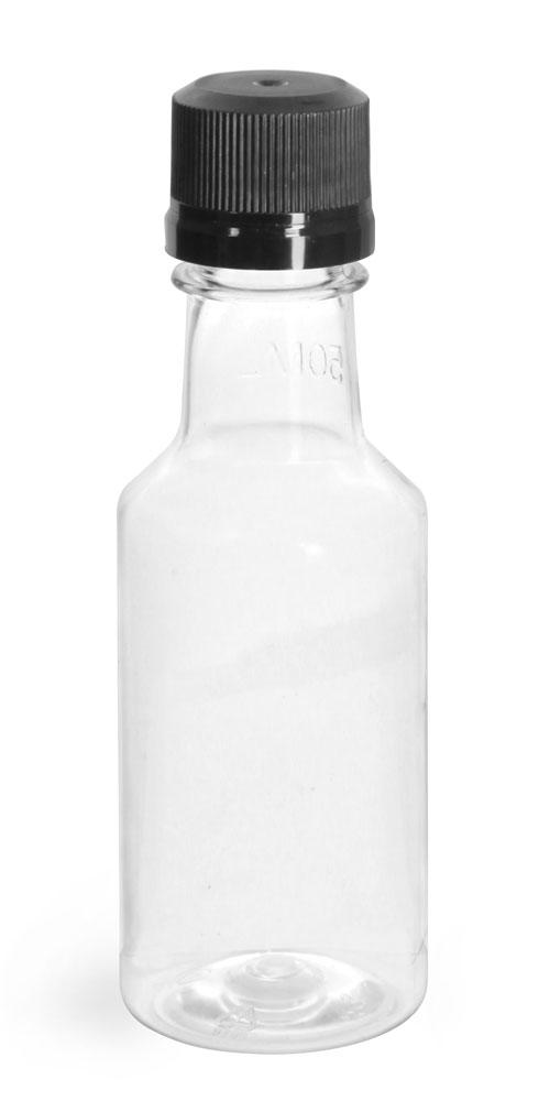 PET Plastic Bottles, Clear Nip Bottles w/ Black Tamper Evident Caps