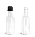 PET Plastic Bottles, Clear Nip Bottles w/ Black Tamper Evident Caps
