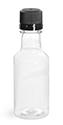 50 ml50 ml PET Plastic Bottles, Clear Nip Bottles w/ Black Tamper Evident Caps