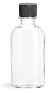 PET Plastic Bottles, Clear Flasks w/ Black Ribbed Lined Caps