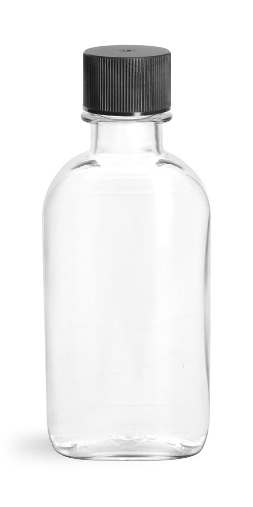Clear PET Flasks w/ Black Ribbed Lined Caps