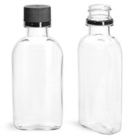 Plastic Bottles, 100 ml Clear PET Flasks w/ Black Ribbed Tamper Evident Caps