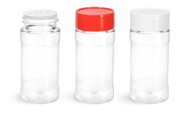 PET Plastic Bottles, Clear Spice Bottles w/ Unlined Caps and Sifter Fitments