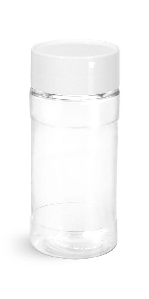 4 oz w/ White Cap, NO FITMENT Clear PET Spice Bottles w/ White Unlined Caps