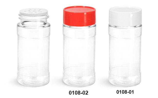 Plastic Bottles, Clear PET Spice Bottles w/ Sifters and Unlined Caps