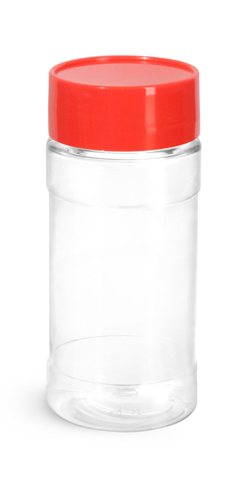 4 oz Clear PET Spice Bottles w/ Red Unlined Caps and Sifter Fitments