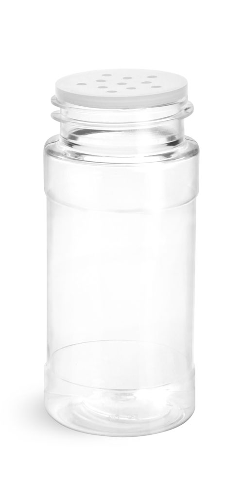 4 oz w/ White Cap & Sifter Fitment Clear PET Spice Bottles w/ White Unlined Caps and Sifter Fitments