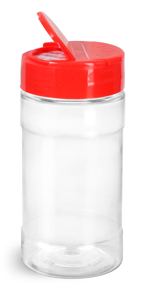 8 oz Clear PET Spice Bottles w/ Red Pressure Sensitive Lined Caps