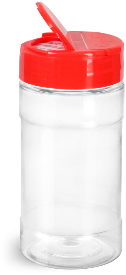 Clear PET Spice Bottles w/ Red Pressure Sensitive Lined Caps